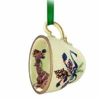 Giraffe Tea Cup Green Holiday Ornament