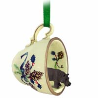 Hippopotamus Tea Cup Green Holiday Ornament