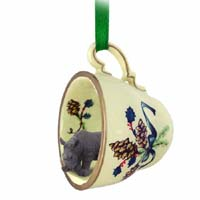 Rhinoceros Tea Cup Green Holiday Ornament