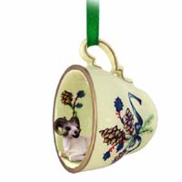 Dahl Sheep Tea Cup Green Holiday Ornament