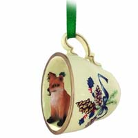 Fox Red Tea Cup Green Holiday Ornament