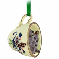 Squirrel Gray Tea Cup Green Holiday Ornament