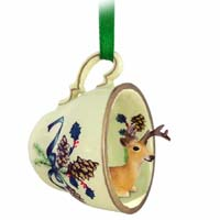 Deer Buck Tea Cup Green Holiday Ornament
