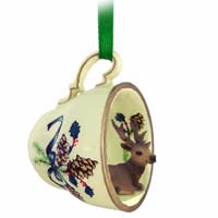 Elk Bull Tea Cup Green Holiday Ornament