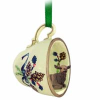 Elk Cow Tea Cup Green Holiday Ornament