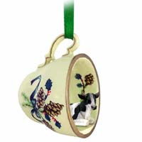 Holstein Bull Tea Cup Green Holiday Ornament