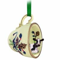 Holstein Cow Tea Cup Green Holiday Ornament