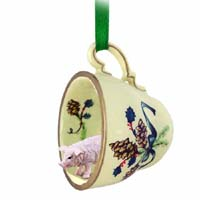 Pig Pink Tea Cup Green Holiday Ornament