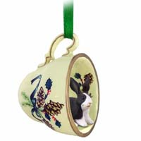 Rabbit Black & White Tea Cup Green Holiday Ornament