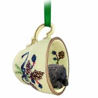 Porcupine Tea Cup Green Holiday Ornament