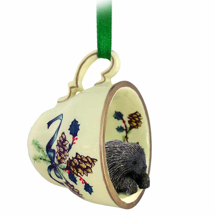 Porcupine tea cup green holiday ornament m4hsunfo
