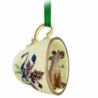 Coyote Tea Cup Green Holiday Ornament