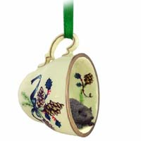 Hedgehog Tea Cup Green Holiday Ornament