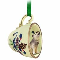 Wolf Timber Tea Cup Green Holiday Ornament
