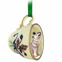 Wolf Gray Tea Cup Green Holiday Ornament