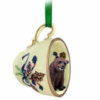 Bear Grizzly Tea Cup Green Holiday Ornament