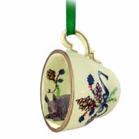 Armadillo Tea Cup Green Holiday Ornament