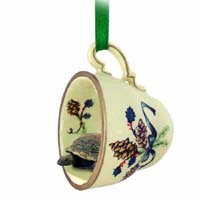 Turtle Tea Cup Green Holiday Ornament