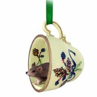 Mouse Tea Cup Green Holiday Ornament