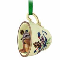 Chipmunk Tea Cup Green Holiday Ornament