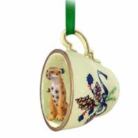 Cheetah Tea Cup Green Holiday Ornament