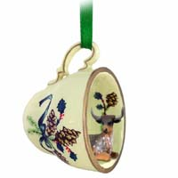 Long Horn Steer Tea Cup Green Holiday Ornament