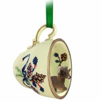 Big Horn Sheep Tea Cup Green Holiday Ornament