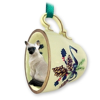 Siamese Tea Cup Green Holiday Ornament