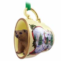 Bear Brown Tea Cup Snowman Holiday Ornament