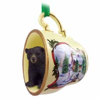 Bear Black Tea Cup Snowman Holiday Ornament