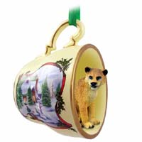Lioness Tea Cup Snowman Holiday Ornament