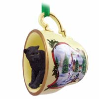 Panther Tea Cup Snowman Holiday Ornament