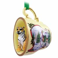 Tiger Tea Cup Snowman Holiday Ornament