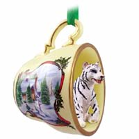 Tiger White Tea Cup Snowman Holiday Ornament