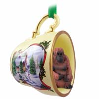 Orangutan Tea Cup Snowman Holiday Ornament