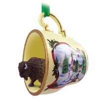 Buffalo Tea Cup Snowman Holiday Ornament