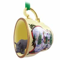 Rhinoceros Tea Cup Snowman Holiday Ornament