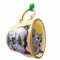 Squirrel Gray Tea Cup Snowman Holiday Ornament