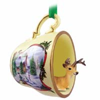 Deer Buck Tea Cup Snowman Holiday Ornament