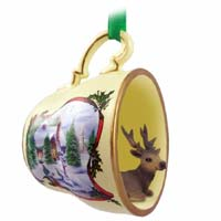 Elk Bull Tea Cup Snowman Holiday Ornament