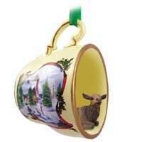 Elk Cow Tea Cup Snowman Holiday Ornament