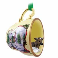 Guernsey Bull Tea Cup Snowman Holiday Ornament