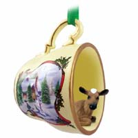 Guernsey Cow Tea Cup Snowman Holiday Ornament
