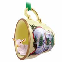 Goat White Tea Cup Snowman Holiday Ornament