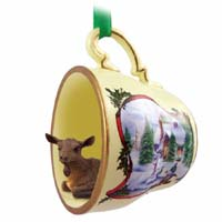 Goat Brown Tea Cup Snowman Holiday Ornament
