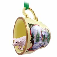 Pig Pink Tea Cup Snowman Holiday Ornament