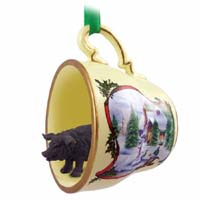 Pig Black Tea Cup Snowman Holiday Ornament