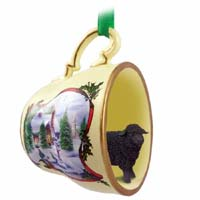 Sheep Black Tea Cup Snowman Holiday Ornament