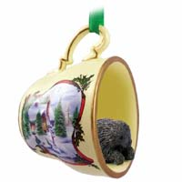 Porcupine Tea Cup Snowman Holiday Ornament