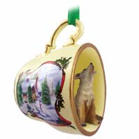 Coyote Tea Cup Snowman Holiday Ornament